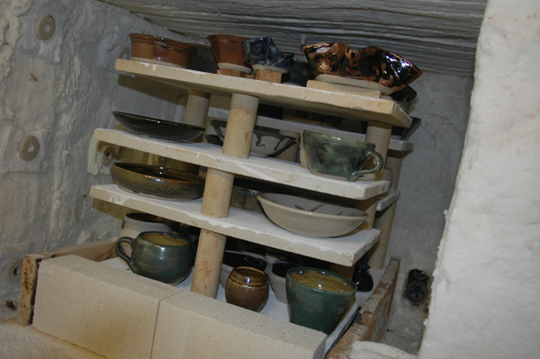 First view of pots after firing