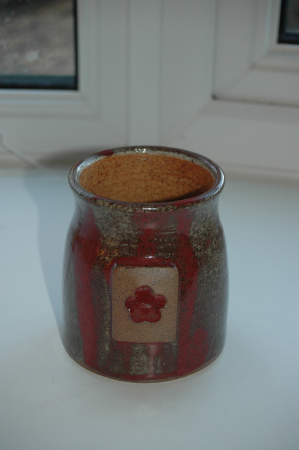 Red drizzle vase made for customer - gas reduction fired