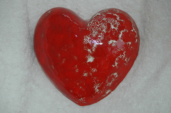Red heart wall hanging - electric kiln and paper clay