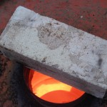 Raku kiln coming up to temperature
