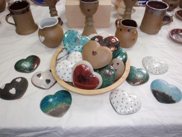 Raku and stoneware hearts